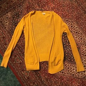 Mossimo Gold Mustard Yellow Cardigan With Pockets
